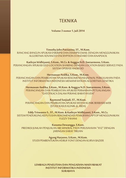 Teknika, Vol 3, No 1, Juli 2014